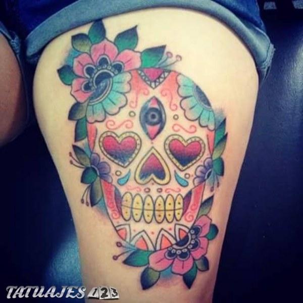 Calavera Mexicana En La Pierna Tatuajes 123