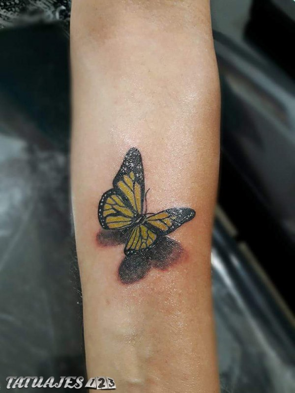 Mariposa 3d Amarilla Tatuajes 123