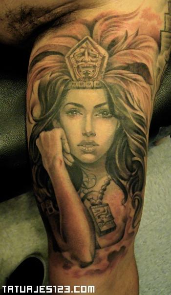 Mujer Azteca De Cabello Oscuro Tatuajes 123