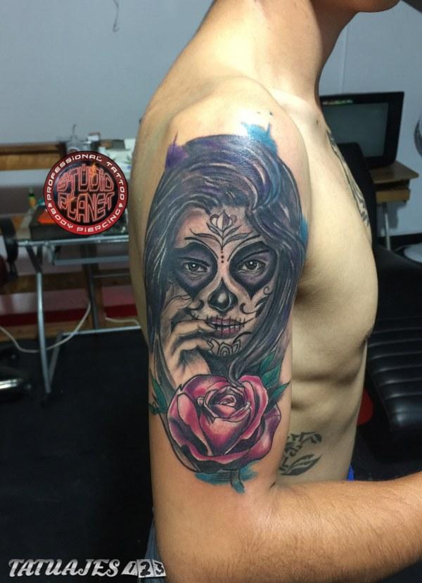 Mujer Catrína Y Rosa Tatuajes 123