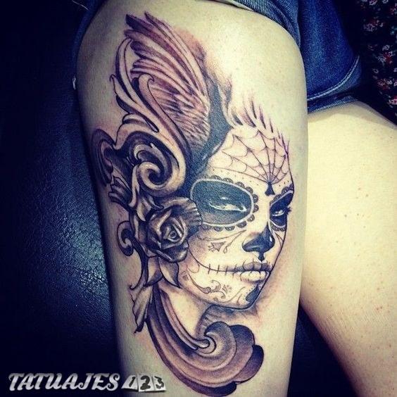 Diseño De Catrina Con Rosa Lateral Tatuajes 123