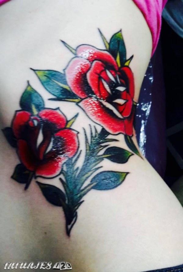 Dos Flores Rojas Tatuajes 123