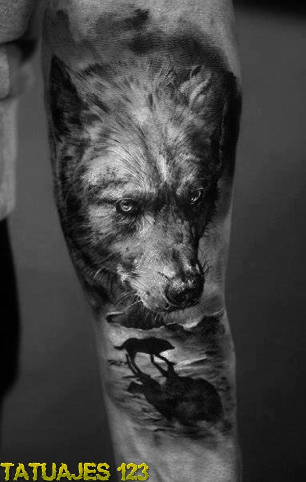 El lobo y su realismo  Tatuajes 123