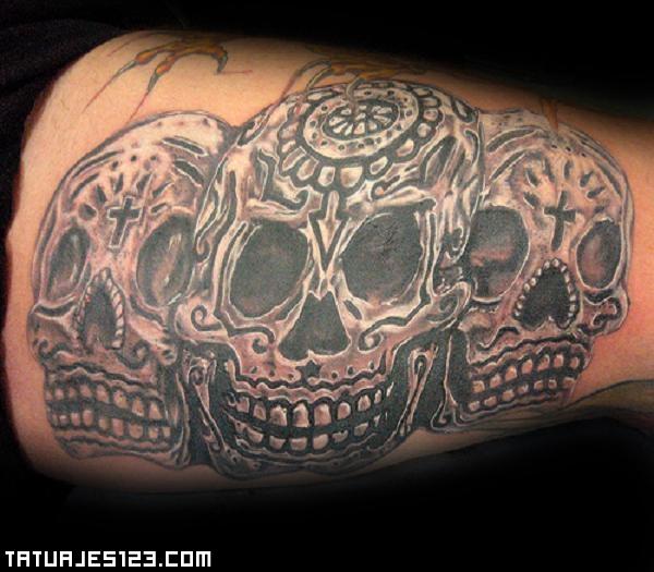 Varias Calaveras Con Inscripciones Tatuajes 123