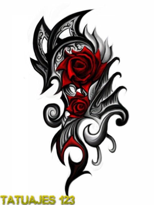 Diseo tribal con rosa  Tatuajes 123