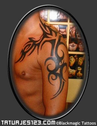 Gran Tribal De Cuello A Brazo Tatuajes 123