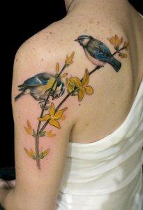 Pajaritos y flores amarillas