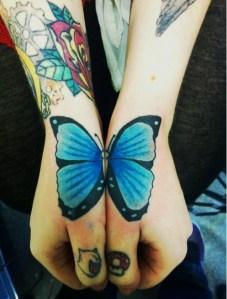 Mariposa turquesa y azul
