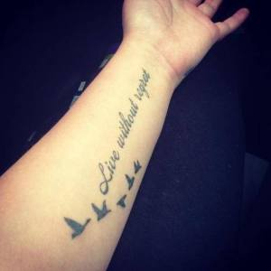 Frase: Live without regret & Aves
