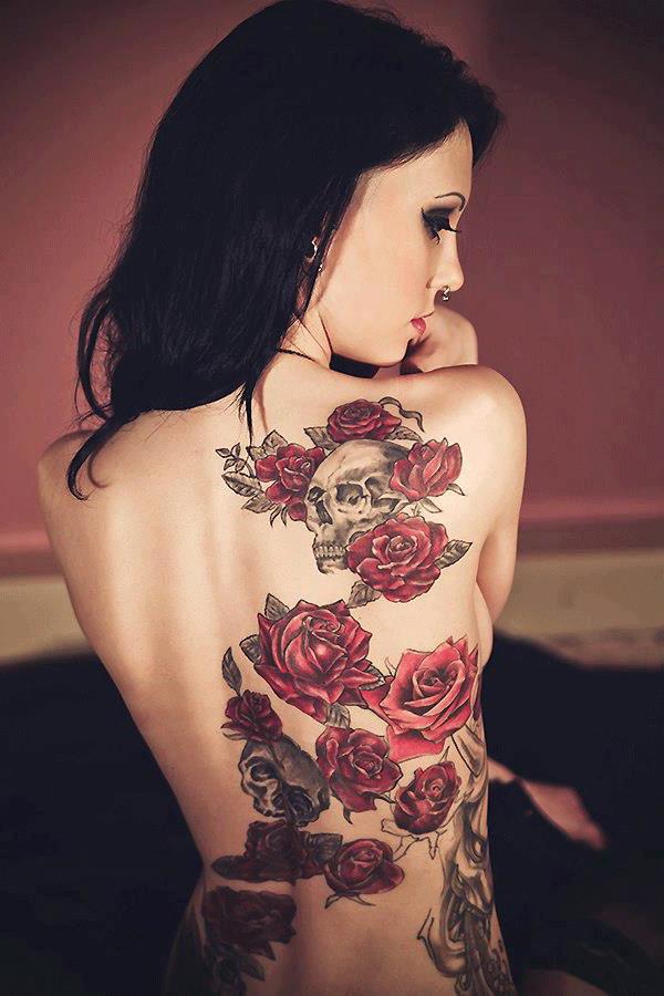 Rosas Calavera Tatuajes Para Mujeres