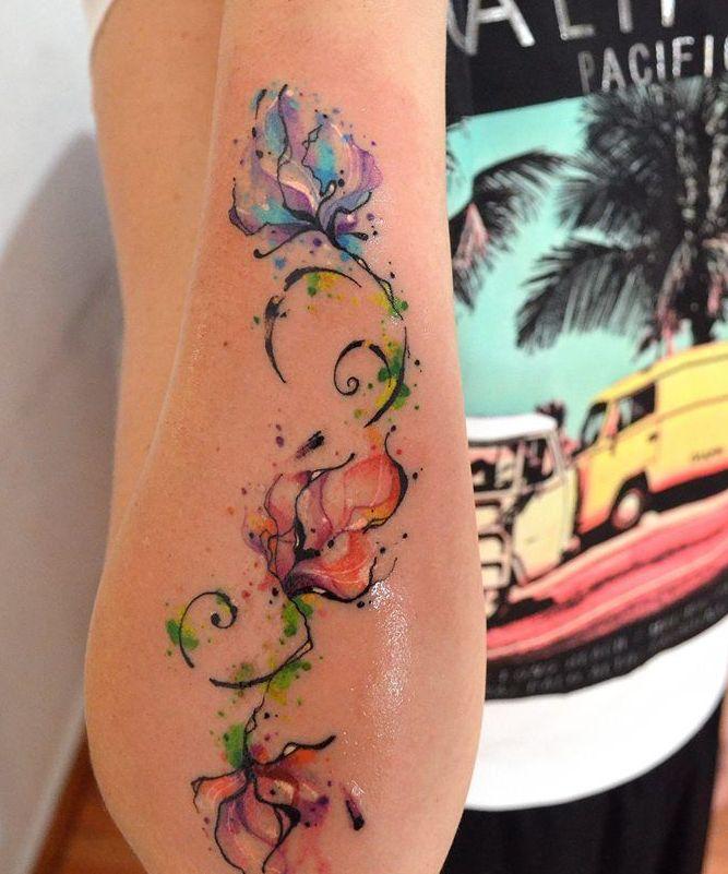 Flores En Acuarelas By Javi Wolf Tatuajes Para Mujeres
