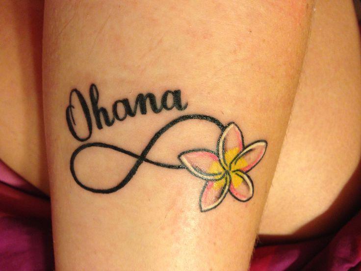 Infinito Flor Y Frase Ohana Tatuajes Para Mujeres