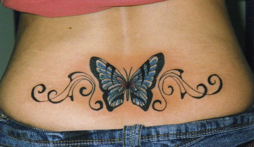 Mariposa Azul Con Firuletes Tatuajes Para Mujeres
