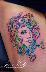 Mujer Medusa en Acuarelas by Javi Wolf