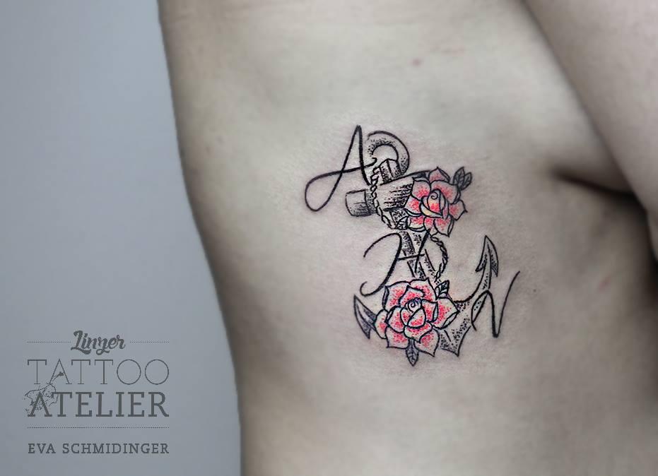Ancla Flores E Inicial Nombre By Eva Schmidinger Tatuajes Para Mujeres