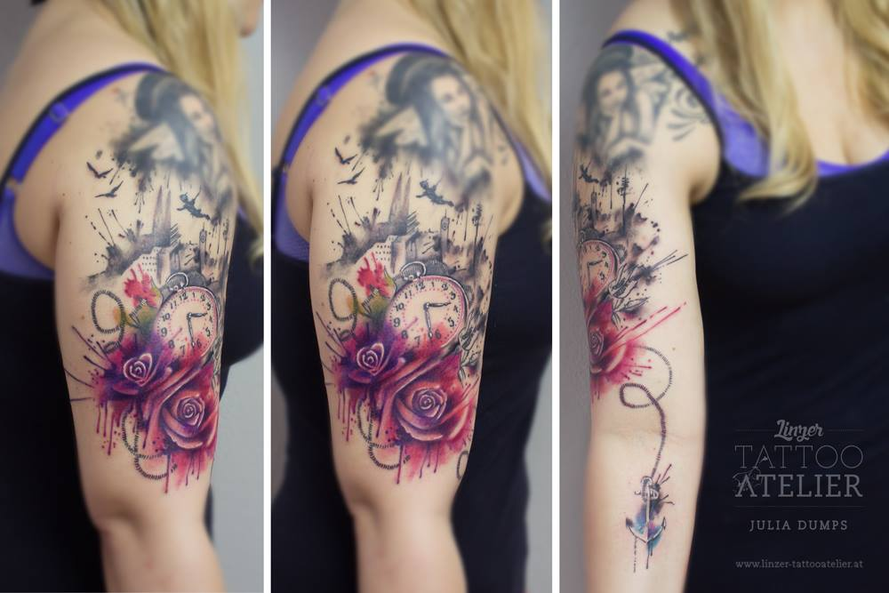 Flores Reloj Ancla Angeles By Julia Dumps Tatuajes Para Mujeres