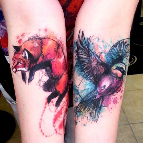 Ave Zorro Estilo Acuarelas Tatuajes Para Mujeres