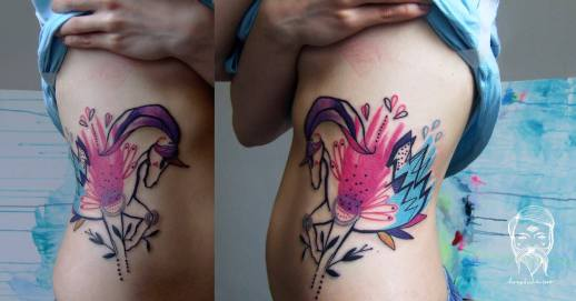 Unicornio en Acuarelas by Bumpkin Tattoo