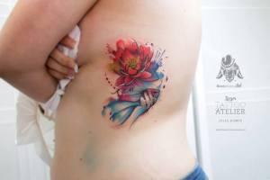 Flor de Loto, Pez e Inicial en Acuarelas by Julia Dumps