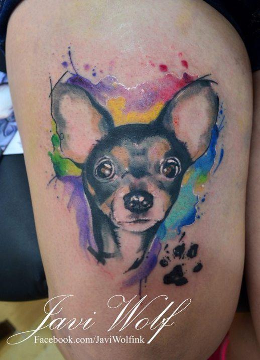 Perro con Huella estilo Acuarelas by Javi Wolf