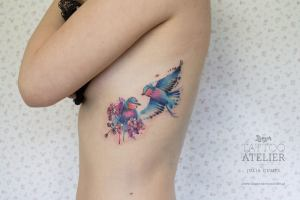 Aves entre Flores estilo Acuarelas by Julia Dumps