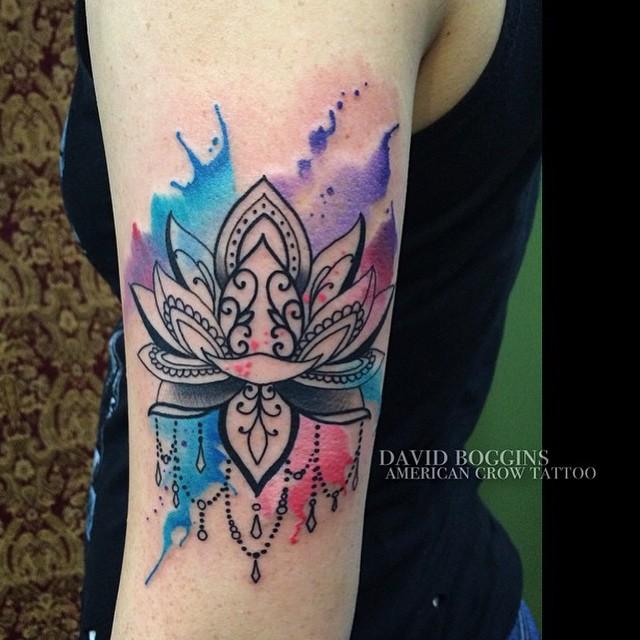 Flor De Loto By David Boggins Tatuajes Para Mujeres
