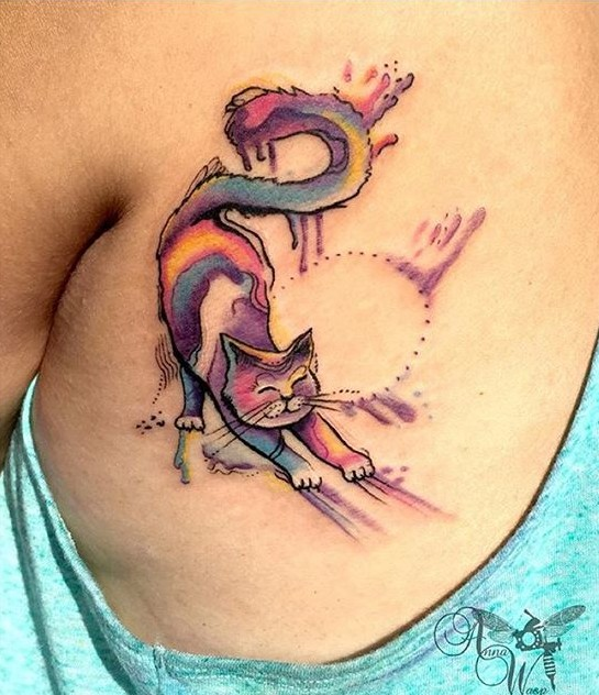 Gato Estilo Acuarelas Tatuajes Para Mujeres