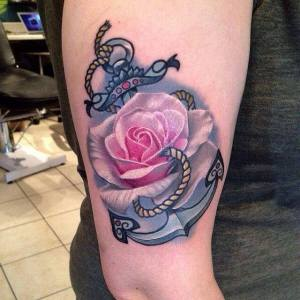 Ancla y Flor Rosa estilo 3D