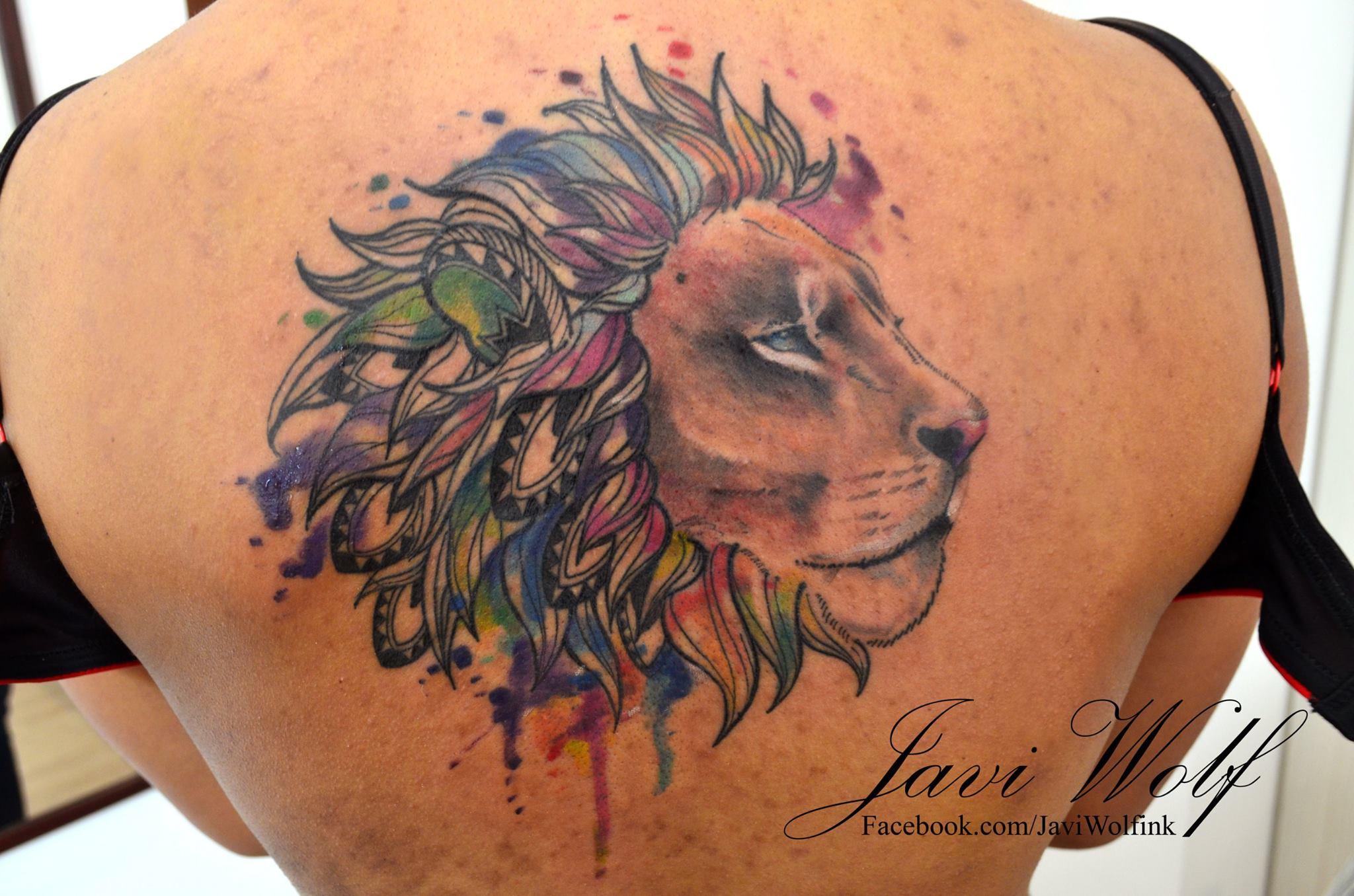 León Estilo Acuarelas Por Javi Wolf Tatuajes Para Mujeres
