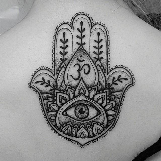 Mano Hamsa Ojo Y Símbolo Om Tatuajes Para Mujeres