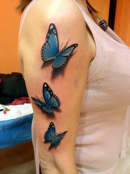 Mariposas Azules Estilo 3d Tatuajes Para Mujeres
