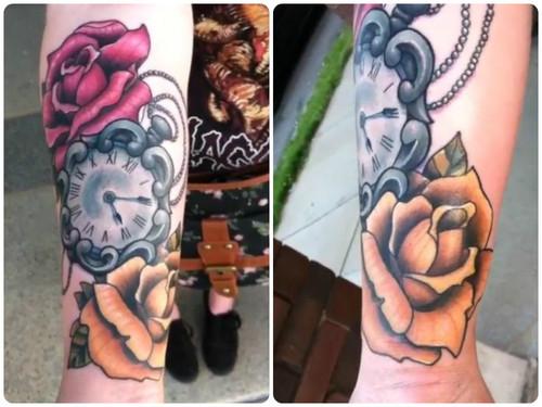 Reloj con Flores Rosas