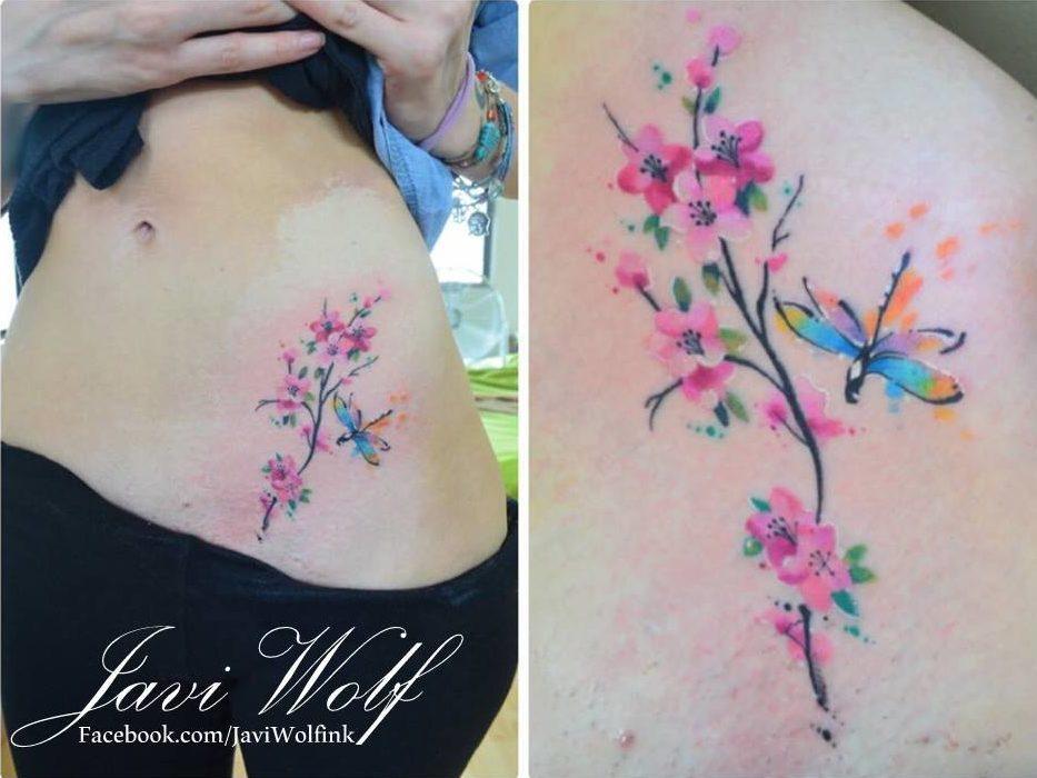 Flores De Cerezo Estilo Acuarelas By Javi Wolf Tatuajes Para Mujeres