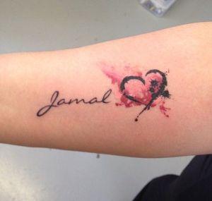 Nombre y Corazón estilo Acuarelas