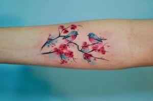 Flores de Cerezo y Aves