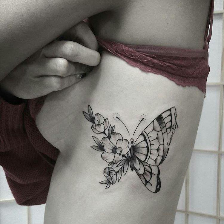 Mariposa Y Flores Tatuajes Para Mujeres