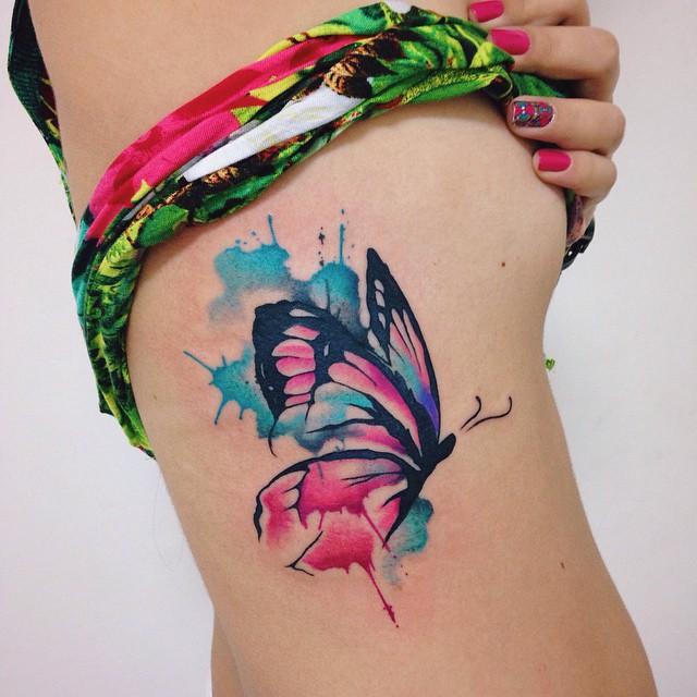 Mariposa Estilo Acuarelas Por Felipe Bernardes Tatuajes Para Mujeres