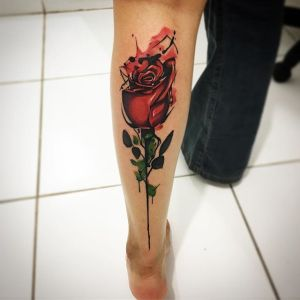 Flor Rosa estilo Acuarelas