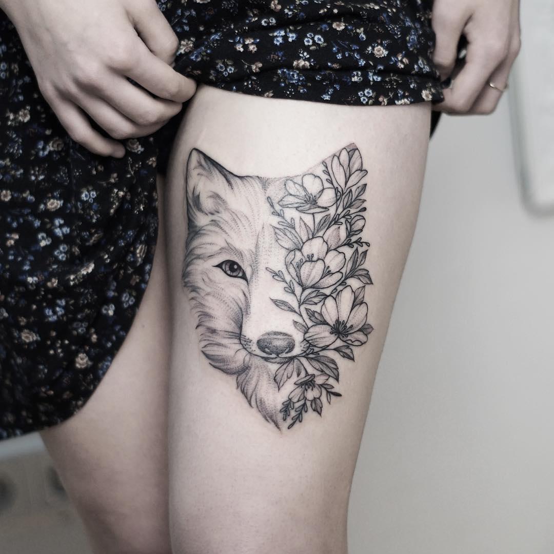 Mitad Lobo Mitad Naturaleza Tatuajes Para Mujeres