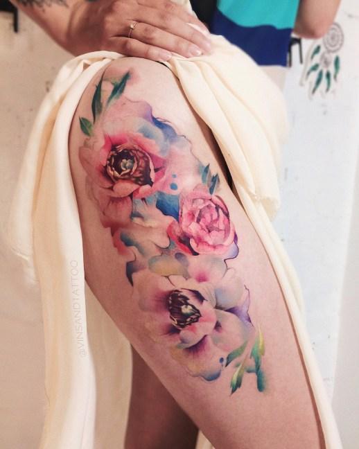 Flores Rosas estilo Acuarelas