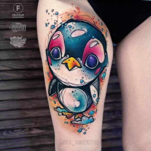 Pingüino angelical por Вика Kiwi Tattoo