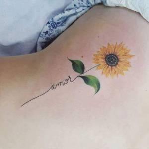 Frase: Amor y flor de girasol