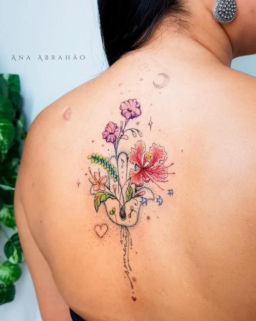 Mano de Hamsa y flores por Ana Abrahão