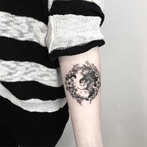Yin Yang de gatos por Terryemi Tattoo