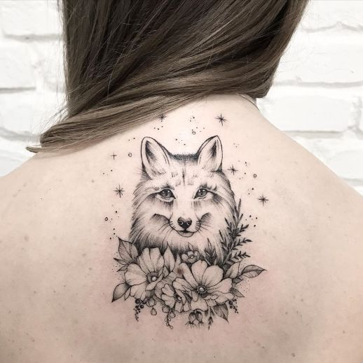 Zorro escondido entre flores por Terryemi Tattoo