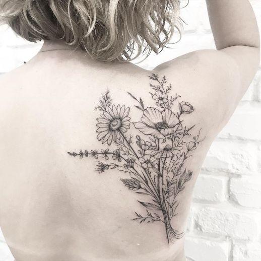 Ramillete de flores por Terryemi Tattoo