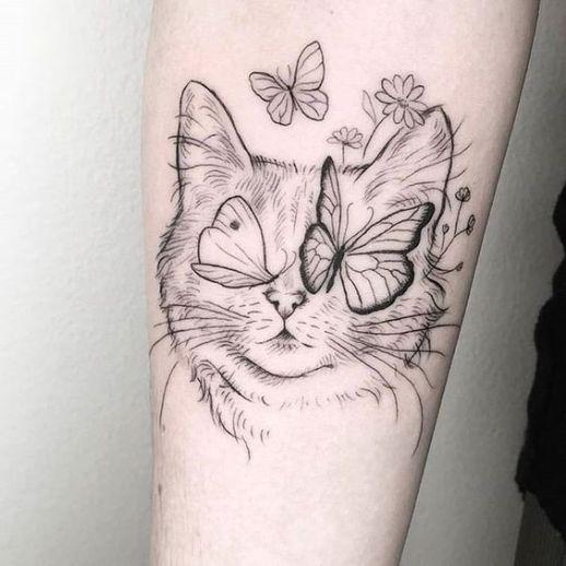 Gato con mariposas en la cara
