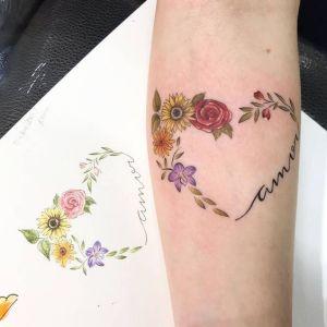 Frase: Amor con corazón de flores
