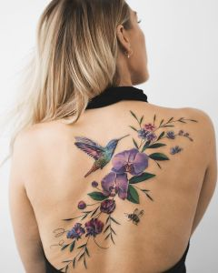 Colibrí y flores por Rey Jasper