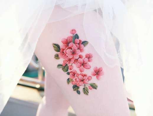 Ramillete flores de cerezo por Tattooist Sion
